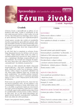 Spravodajca občianskeho združenia Fórum života 2/2005 (pdf, 2 MB)