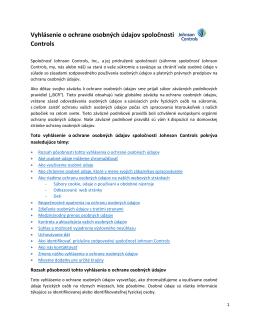Vyhlásenie o ochrane osobných údajov spoločnosti Johnson Controls