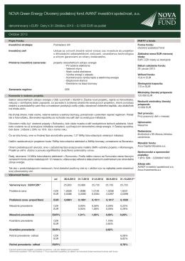NOVA Green Energy Otvorený podielový fond AVANT investiční