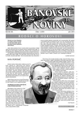 RODÁCI O HOROVOVI - Bánovce nad Ondavou
