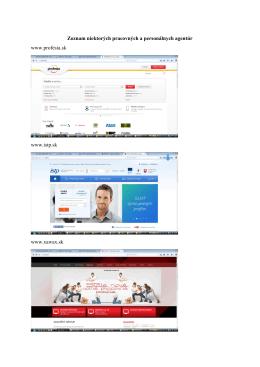 Zoznam niektorých pracovných a personálnych agentúr www