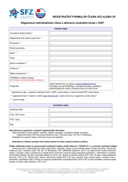 Registračný formulár individuálneho člena