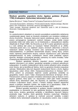 (Paykull, 1798) (Coleoptera: Dytiscidae) tatranských