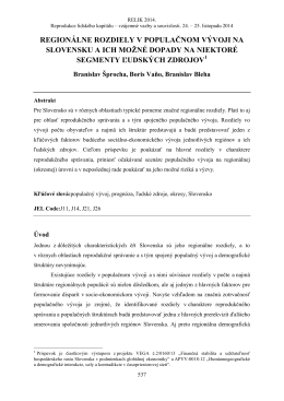 regionálne rozdiely v populačnom vývoji na slovensku a ich možné