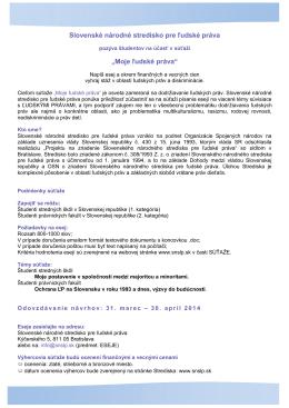 """Slovenské národné stredisko pre ľudské práva """"Moje ľudské práva"""""""