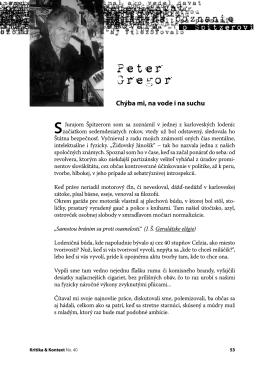 Peter Gregor - Kritika & Kontext