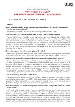 kontrolný dotazník pre európskeho spotrebiteľa energie