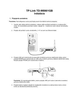TP-Link TD-W8901GB Inštalácia