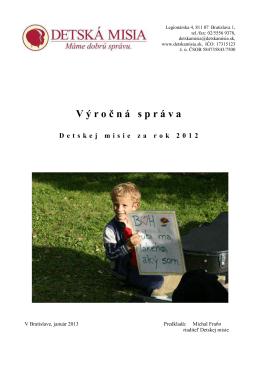Výro č ná správa Detskej misie za rok 2012