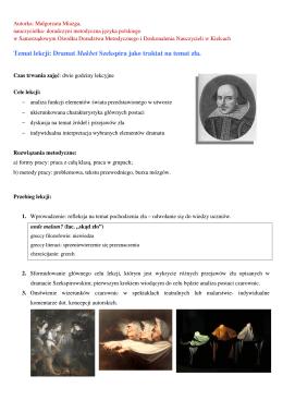 Temat lekcji: Dramat Makbet Szekspira jako traktat na temat zła.