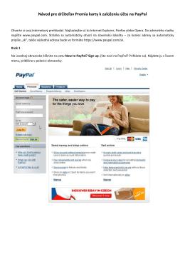Návod pre držiteľov Premia karty k založeniu účtu na PayPal