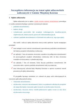 Szczegółowa informacja na temat opłat adiacenckich
