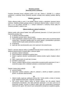 Skúšobný poriadok Slovenskej komory exekútorov Prezídium