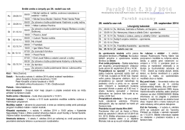 Farský list č. 33 / 2014 - Farnosť Martin - Mesto