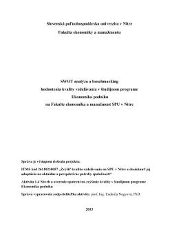 Správa o hodnotení kvality v študijnom programe