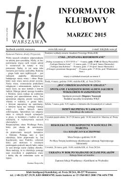 Informator klubowy - marzec 2015