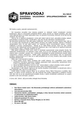 SPRAVODAJ 01/2013 - Združenie Saleziánov spolupracovníkov