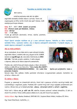TU (pozvánka na detský letný tábor s angličtinou Jelenec