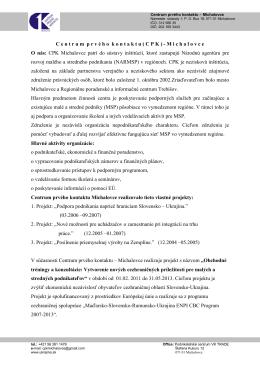 Profil CPK-vzor - Centrum prvého kontaktu Michalovce