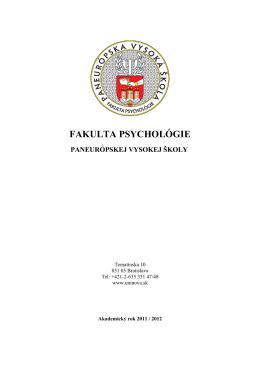 FM – scenár Študijného programu Fakulty masmédií BVŠP