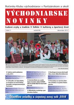 VÝCHODNIARSKE NOVINKY - 2013 (č.11)
