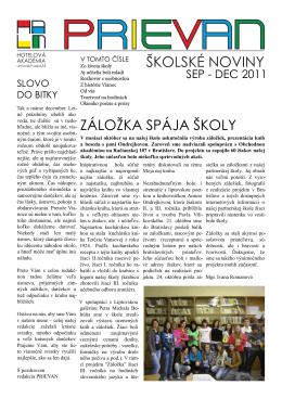 ZÁLOŽKA SPÁJA ŠKOLY - Hotelová akadémia Liptovský Mikuláš