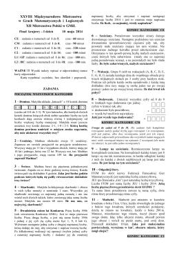 Zadania I dzień - Międzynarodowe Mistrzostwa w Grach