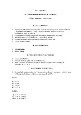 Regulamin III Otwartych Zawodów Rowerowych MTB Dukla