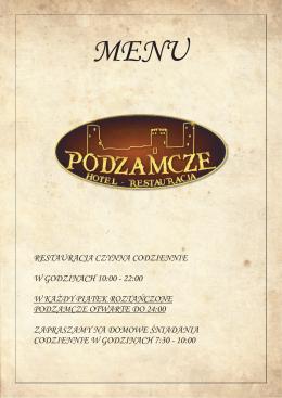 pełna karta menu w wersji pdf