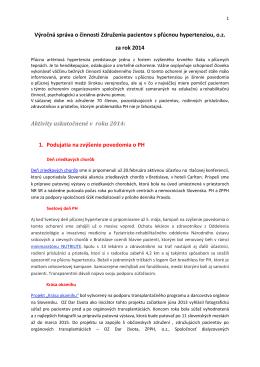 Výročná správa 2014 - Združenie pacientov