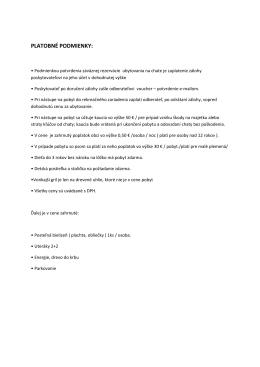 Všeobecné obchodné podmienky pre pobyt - Chata Skalica