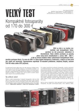 Kompaktné fotoaparáty od 170 do 300 €