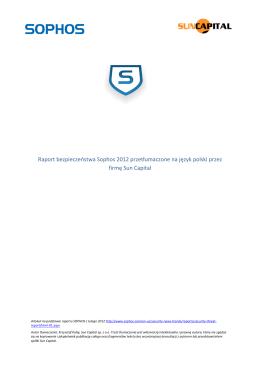 Raport bezpieczeństwa Sophos 2012 przetłumaczone