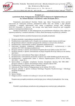 Protokół nr 1 z posiedzenia Rady Pedagogicznej Zespołu Szkół