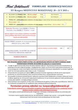 formularz rezerwacji noclegu - XV Kongres Medycyny Rodzinnej