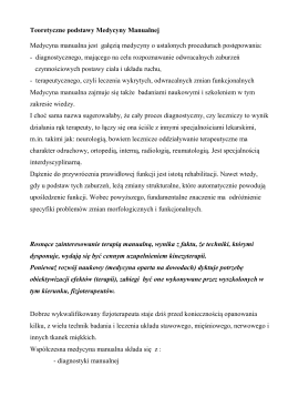 Teoretyczne podstawy Medycyny Manualnej
