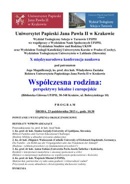 Program - Uniwersytet Papieski Jana Pawła II w Krakowie