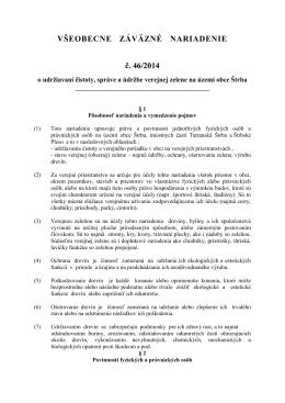 VŠEOBECNE ZÁVÄZNÉ NARIADENIE č. 46/2014