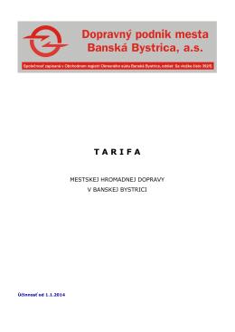 Tarifa MHDBB - Dopravný podnik mesta Banská Bystrica, as