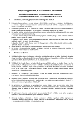 Kritériá prijímania - Evanjelické gymnázium