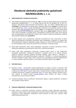 Všeobecné obchodné podmienky a reklamačný poriadok Imunoklub