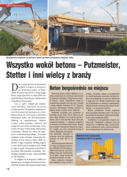 Wszystko wokół betonu – Putzmeister, Stetter i inni wielcy z branży