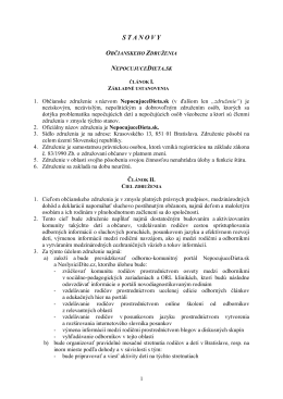 Stanovy združenia - NepocujuceDieta.sk