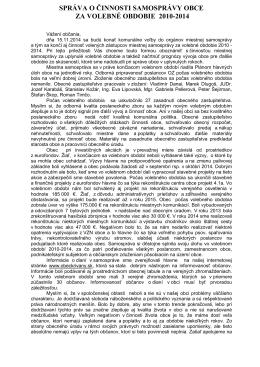 Správa o činnosti 2010-2014