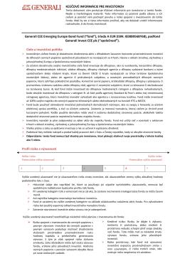 KĽÚČOVÉ INFORMÁCIE PRE INVESTOROV Generali CEE