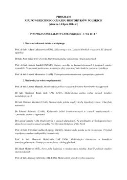 stan na 14 lipca 2014 r. - Powszechny Zjazd Historyków Polskich