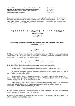 Návrh VZN č. 1/2015 o zákaze hazardných hier na