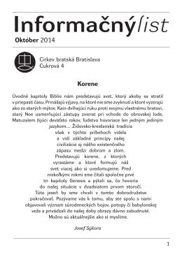 Október 2014 - Cirkev bratská v Bratislave
