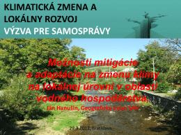 Lokálne opatrenia v oblasti vodného hospodárstva