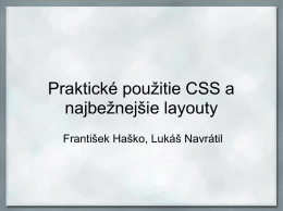 Praktické použitie CSS a najbežnejšie layouty